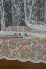 Fransız Dantel Tül - Buzlu Zemin - Ütü İstemez- Ekru Ekru