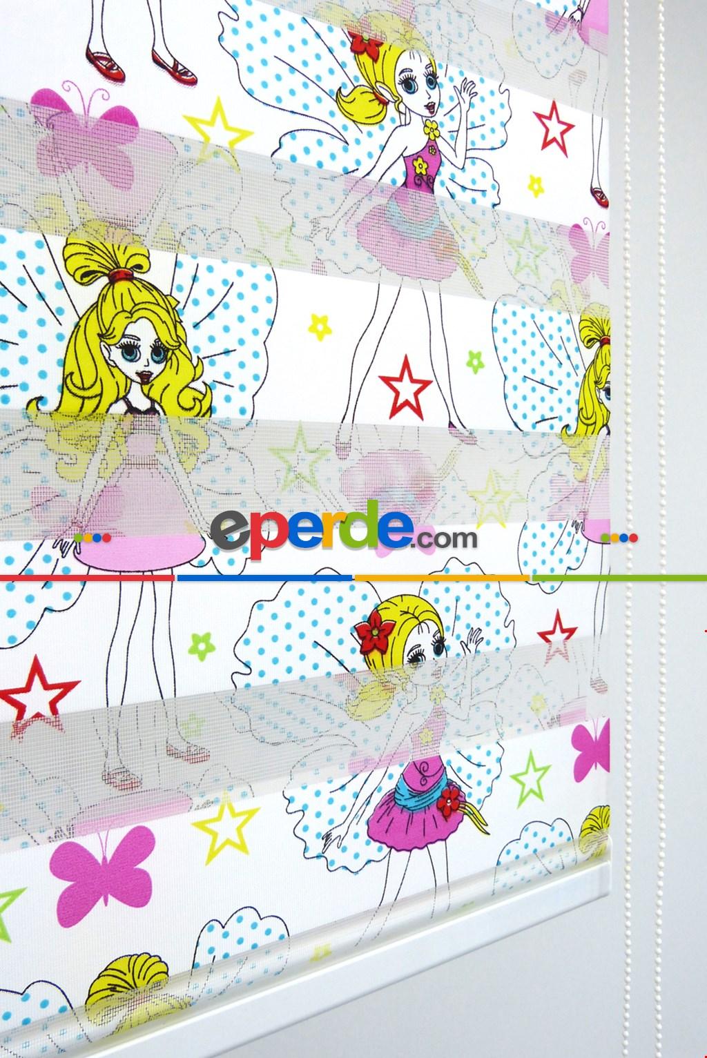 Zebra Perde - Barby Baskılı Çocuk Ve Genç Odası- Sarı-pembe-mor