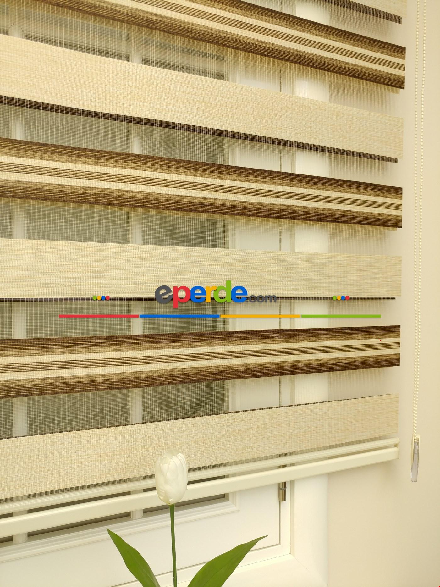 Zebra Perde - Caprice A.gri-antrazit Renk Bambu (geçiş Zeminli) Bej - Kahve Açık - Vizon Rengi