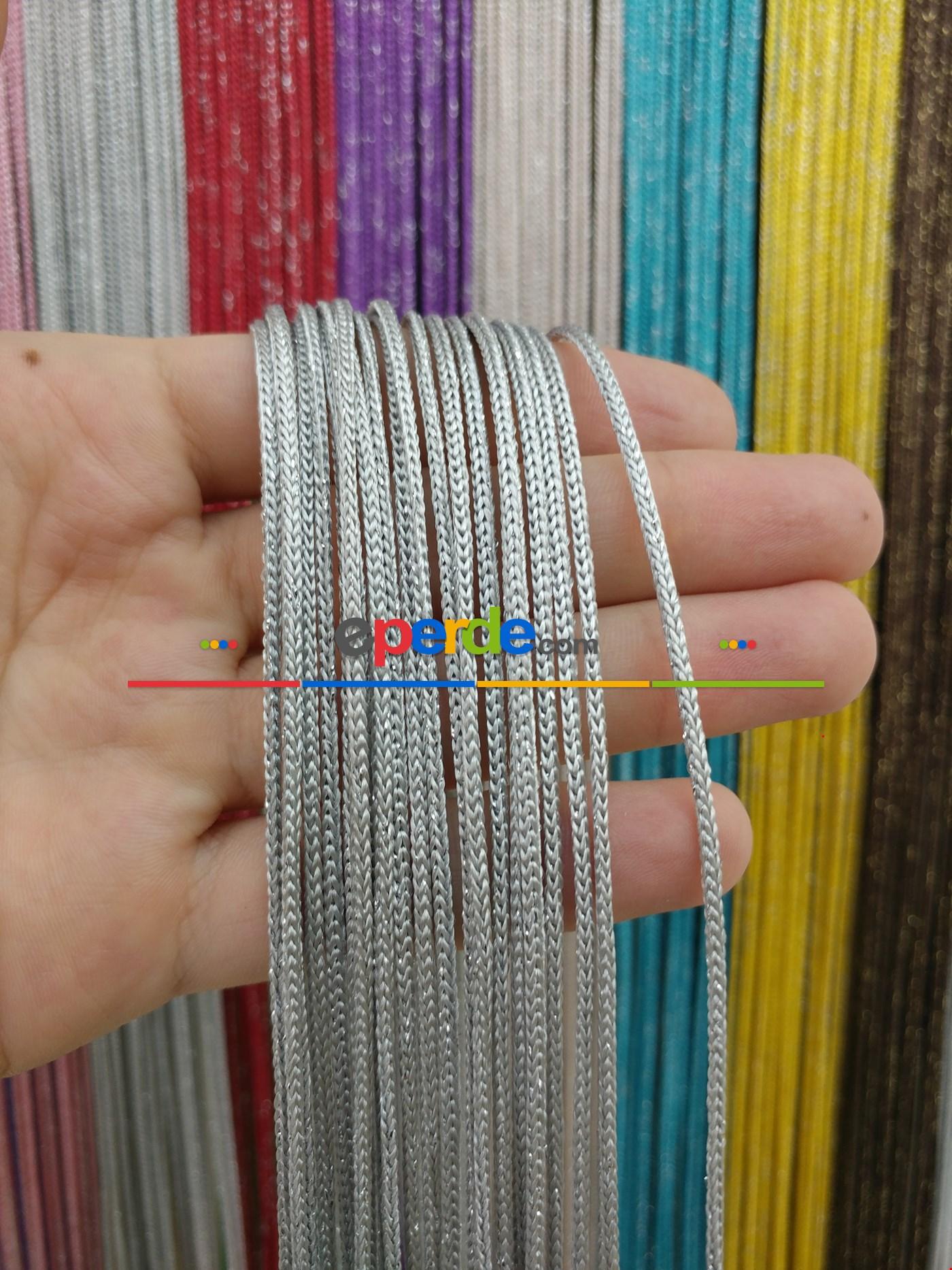 Bej Rengi İp Perde Kalın Zincir Simli Serisi Gri - Gümüş
