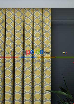 Geniş En Sarı-gri Modern Desenli Fon Perde 1. Kalite Çok Dökümlü