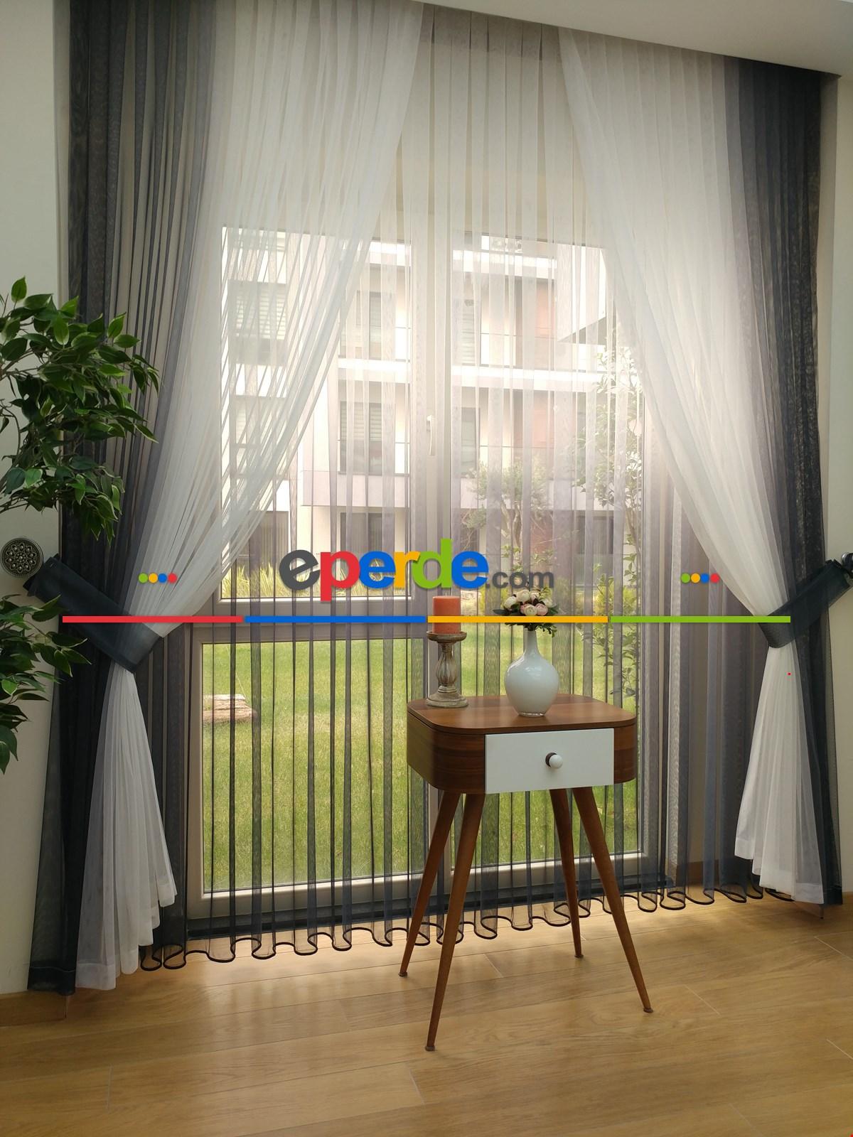 Degrade Renk Geçişli Fransız Danteli Düz Tül Perde ( Fon Satın Alarak Kombin Yapılabilir ) Beyaz - Füme