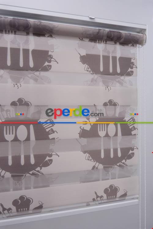 Çatal Bıçaklı Desen Mutfak Zebra Perde