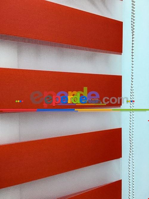 Salon Zebra - Düz Kırmızı Zebra Perde- Kırmızı