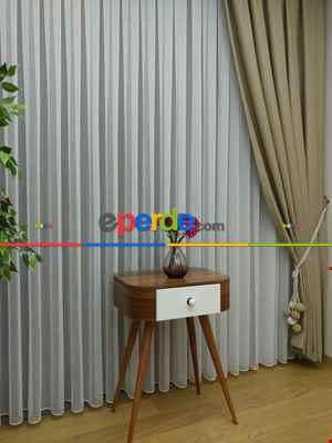Salon Tül Perde - Favori Şantuk Keten Tül Perde ( Menuniyet Garantili ) 2021- Krem Açık