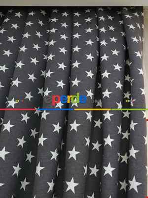 Yıldız Desenli Fon Perde ( Leke Tutmaz)- Siyah