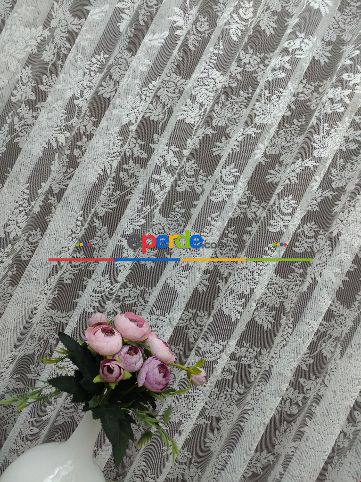 Çiçek Desenli Fransız Dantel Tül Perde