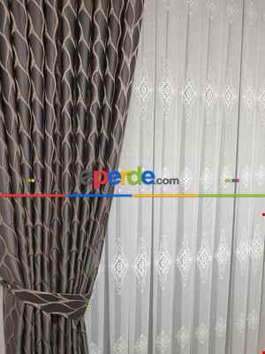 Salon Fon Perde - Yağmur Fon Perde Yeni Model 100cm X 1cm