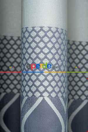 Modern Pano Fon Perde Bantlı Çift Renk - 503- Gri-füme-antrasit-bej-gri Açık