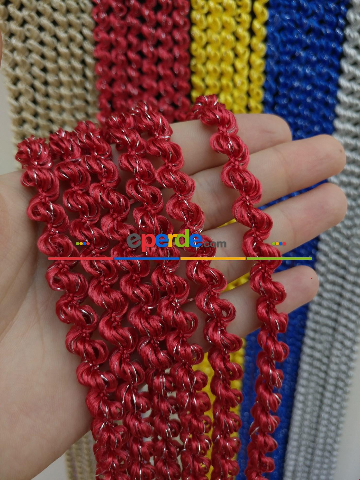 Açık Bej Rengi İp Perde Duble Bukle Serisi Kırmızı - Gümüş