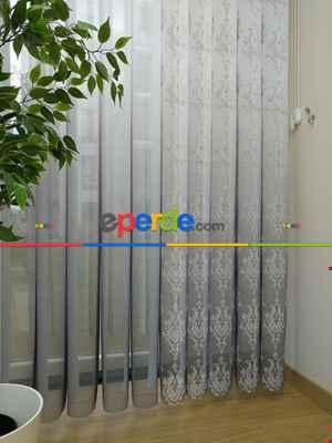 Salon - 1. Kalite Baskılı Tül Dikey Zebra Perde Damask Ve Degrade- Gri-Füme-Antrasit