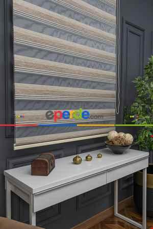 Salon - Zebra Perde - Geçişli Mikro Pileli Zebra Perde