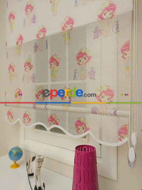 Çocuk Odası Çiftli Stor -Çiftli Sistem Tül Stor- Beyaz-Pembe Açık