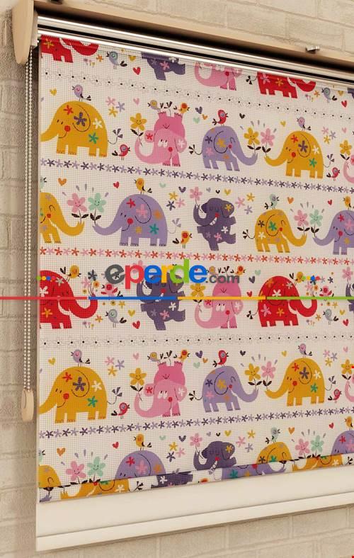 Çocuk Odası Renkli Filler - Baskılı Tül-stor Perde