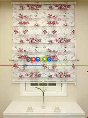 Salon Zebra - Zebra Perde - Çiçek Baskılı- Siyah Kırmızı