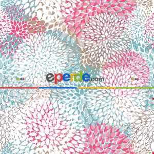 Çiçek Desenli Fon Perde Evm362 - Kumaşı Kalındır Duck Bezi Değildir.- Mavi-Beyaz-Turkuaz-Pembe-Çok Renkli