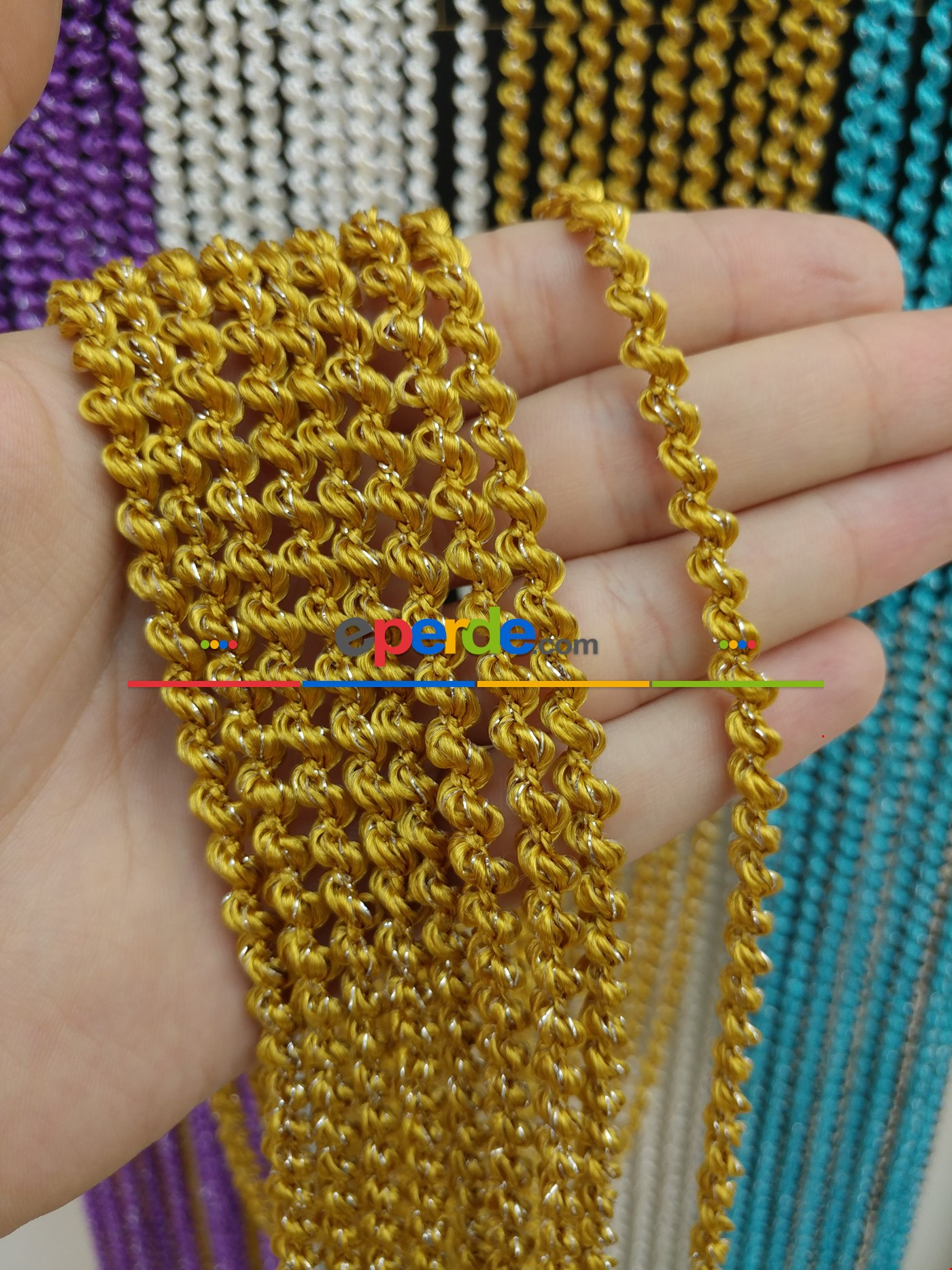 Gri Rengi İp Perde Bukle Serisi Sarı - Gümüş