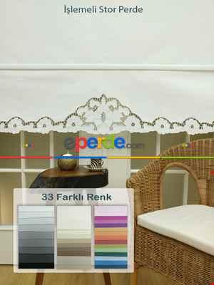 Mutfak Stor Perde - 33 Farklı Renk - İşlemeli- Gri-Füme-Antrasit