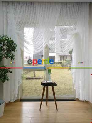 Salon Yatak Odası Fransız Dantel 2021 Tül Kruvaze Perde- Ekru