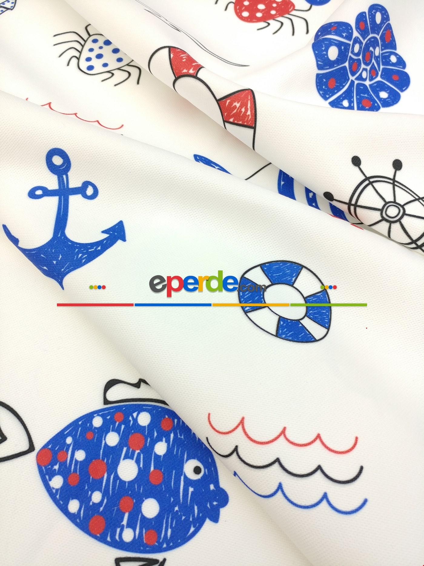 Metre İle Dikişsiz Kumaş - Denizci - Çocuk Odası Fon Perde