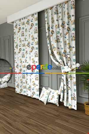 Çocuk Odası - Denizci Ayıcık Ve Çapa Baskılı Fon Perde- Yeşil-kahverengi-mavi Açık-ekru