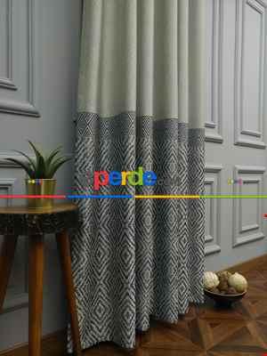 Salon Perdesi - Modern Pano Fon Perde Bantlı Çift Renk - 501- Lacivert