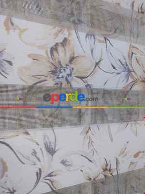 Çiçek Baskılı Zebra Perde