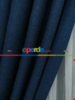 Açık Krem Rengi - Düz Keten Fon Perde ( En 180cm Keten Fon Perde)- Taş Rengi Mavi