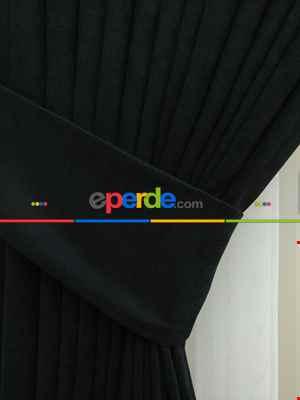 Siyah Düz Fon Perde Kumaşı Dökümlü- Siyah