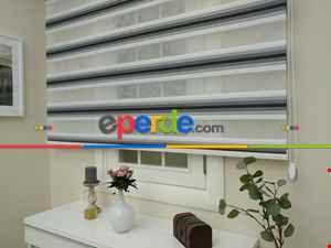 Salon Zebra Perde - Zebra Perde - Degrade Renk Geçişli Pileli Zebra Perde- Siyah