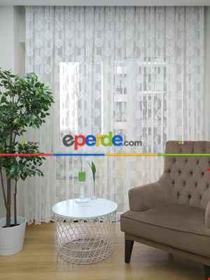 Salon Yatak Odası Damask Fransız Dantel 2021 Tül Perde- Ekru