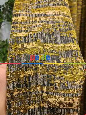 Modern Desenli Jakarlı Fon Perde- Gri-füme-antrasit-gri Koyu-hardal Sarısı