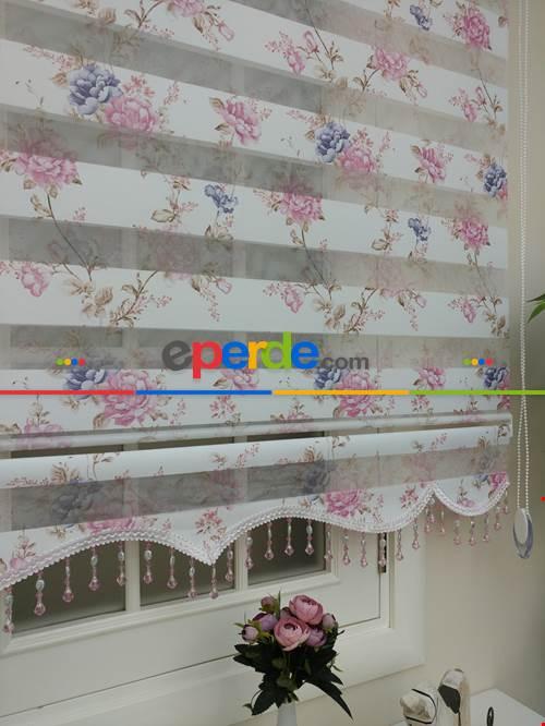 Zebra Perde - Çiçek Baskılı Çocuk, Genç Ve Oturma Odası- Pembe Pudra Pembe 100cm X 200cm