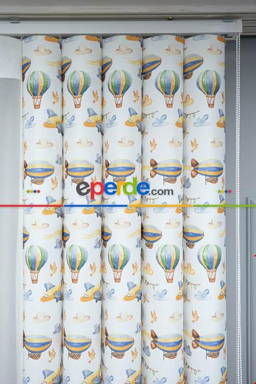 1. Kalite Bebek Ve Çocuk Baskılı Tül Dikey Zebra Perde Uçak - Uçan Balon - Zeplin Desen- Yeşil-mavi-sarı-açık Yeşil-kahve-sütlü Kahve-su Yeşili