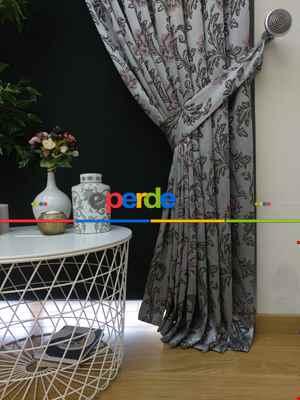 Salon Fon Perde - Pudra Kahve Desenli Jakar Fon Perde- Pudra