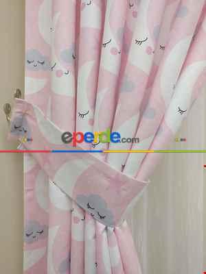 Aydede Desenli Kız Bebek Ve Çocuk Odası Fon Perde Modelleri- Gri-Füme-Antrasit-Beyaz-Pembe