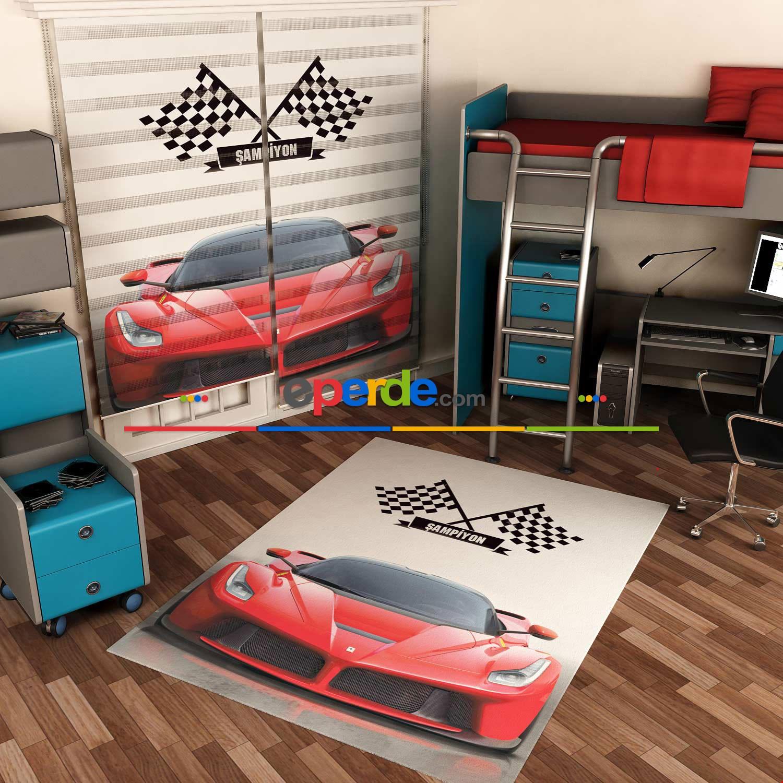 Kırmızı Ferrari Baskılı Halı