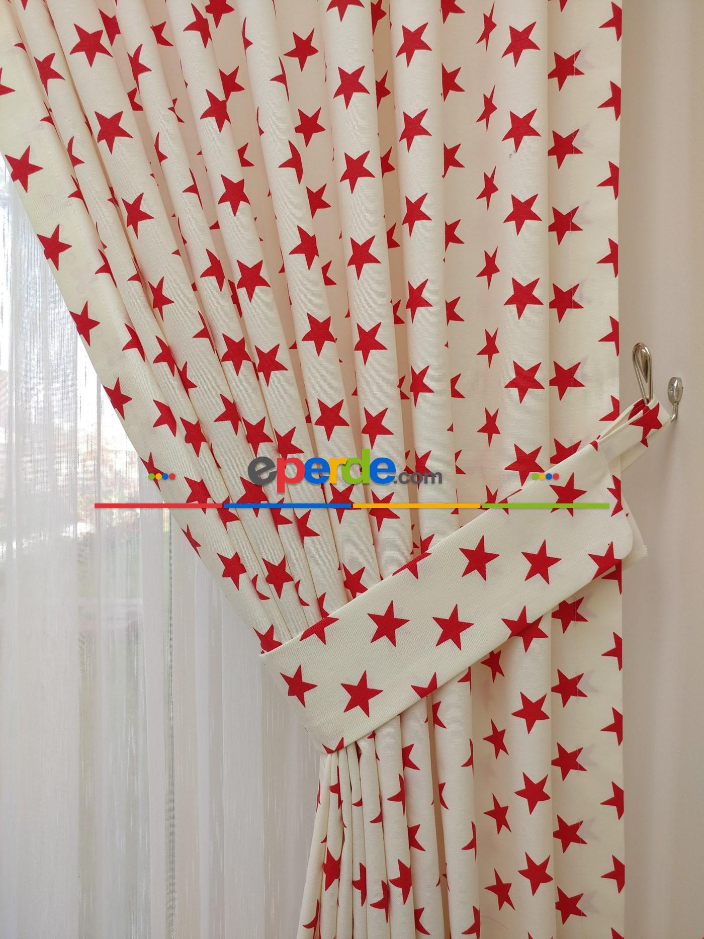 Yıldız Desenli Fon Perde (leke Tutmaz) Kırmızı