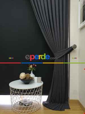 Düz Renk Dökümlü Fon Perde (150)- Gri Koyu