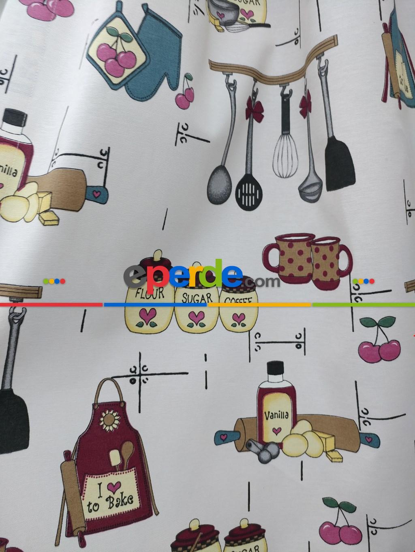 Renkli Mutfak Desen Fon Perde ( Leke Tutmaz )