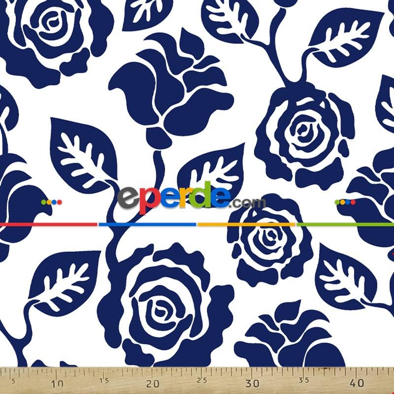 Çiçek Desenli Fon Perde Evm300-3 - Kumaşı Kalındır Duck Bezi Değildir.- Lacivert-Mavi-Beyaz
