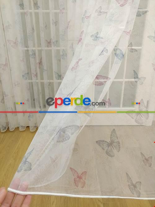 Çocuk Odası Baskılı Tül Perde - Hayal Zemin - Kelebek Desenli