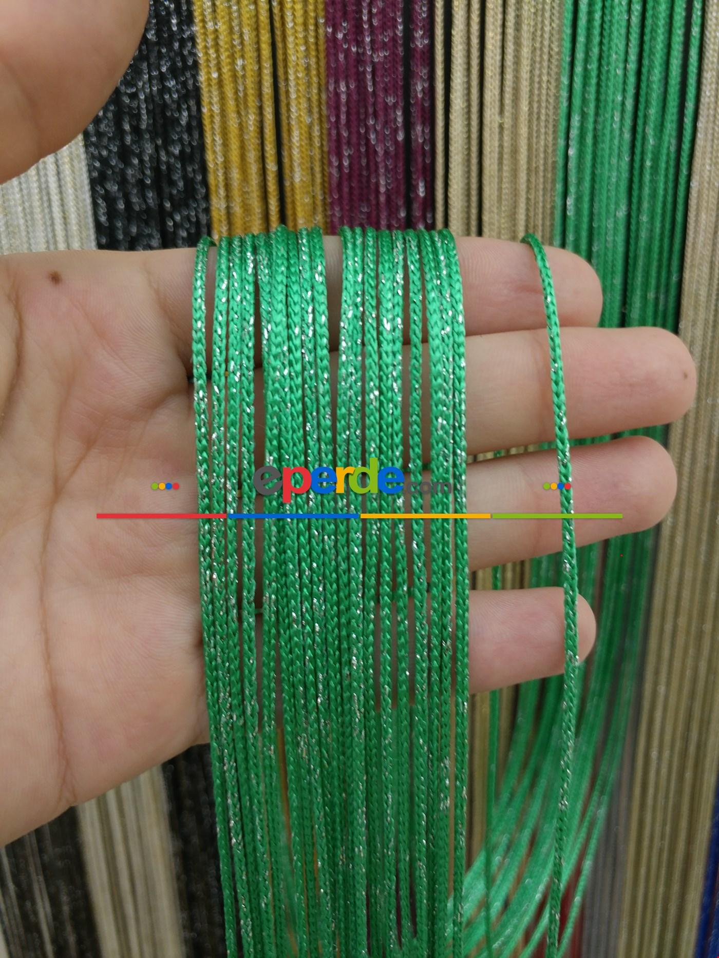 Bej Rengi İp Perde Kalın Zincir Simli Serisi Yeşil - Gümüş