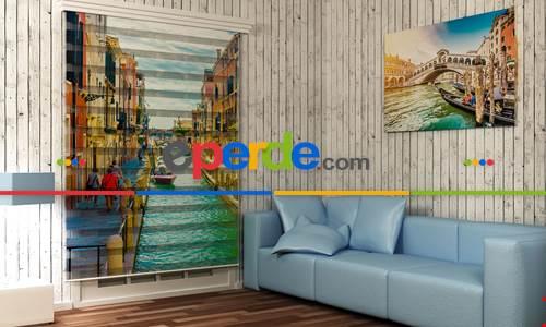 Salon Venedik Poster- Baskılı Zebra Stor Perde