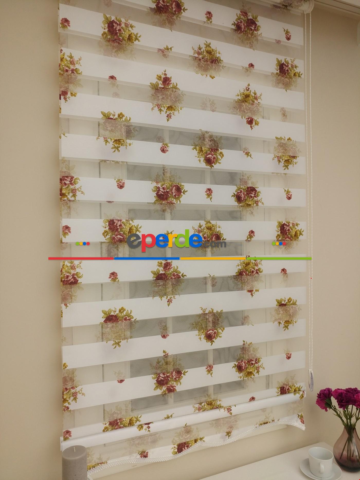 Gül Kurusu Çiçekli Mutfak Zebra Perde (ücretsiz Etek Dilim)
