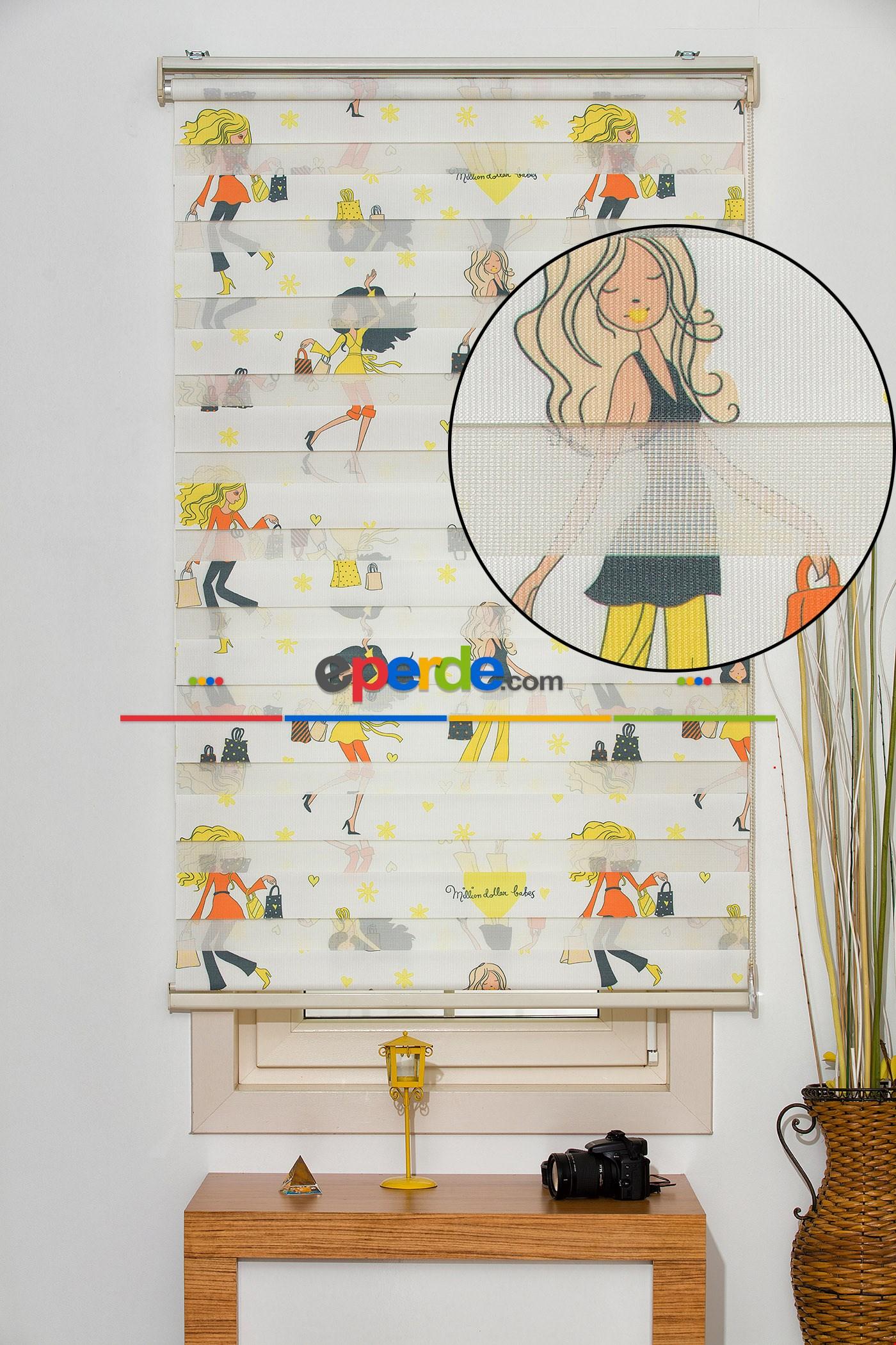 Fırsat!!! Fashion Desenli Zebra Perde ( Ücretsiz Etek Dilim )