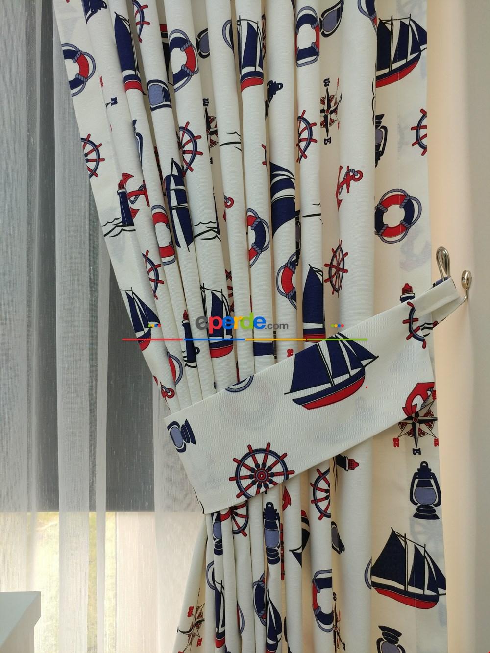 Çapa Denizci Fon Perde (leke Tutmaz)