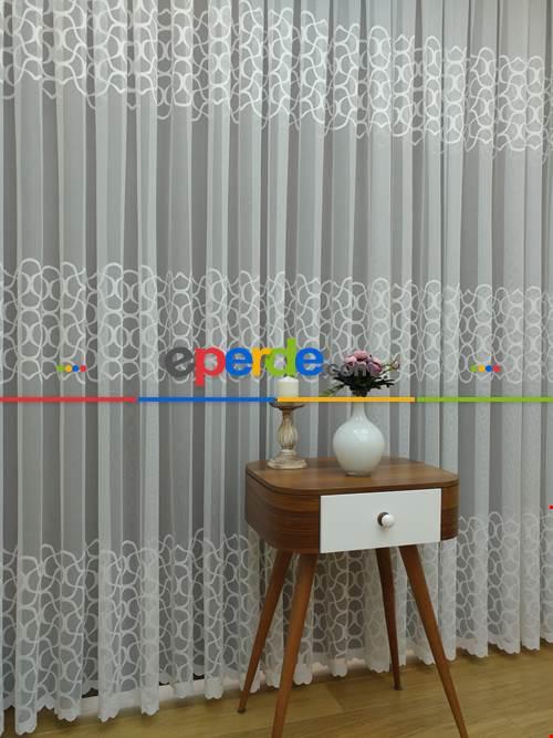 Sıralı Desenli Dantel Örme Tül Perde - Ekru Renk