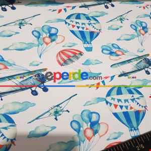 Çocuk Odası Fon - Uçak Desenli Fon Perde K679 Kumaşı Kalındır Duck Bezi Değildir.- Mavi
