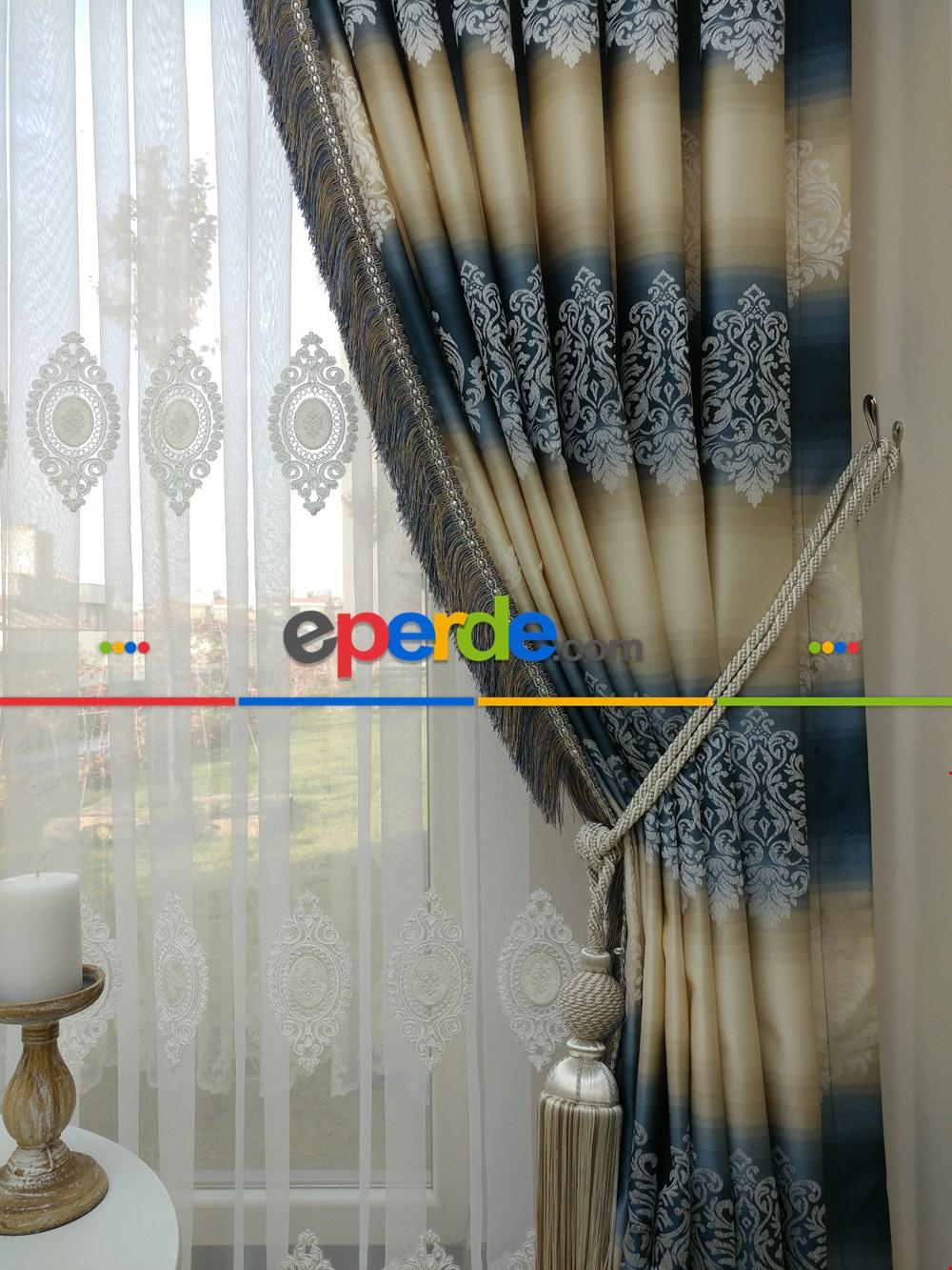 Renk Geçişli Jakar Desenli Salon Fon Perdesi - Lacivert - Mavi - Bej Lacivert - Mavi - Bej